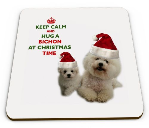 Christmas Keep Calm And Hug A Bichon Novelty Glossy Mug Coaster
